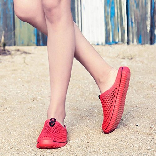 Byste Summer Non-Slip Slippers Flat Flip-Flops Beach Elastic Rain Boots Sandals Bath Shower Wedge Anti Slip Slope Indoor Outdoor Women Men Flexible Couple Shoes Red BUjtzsdtv