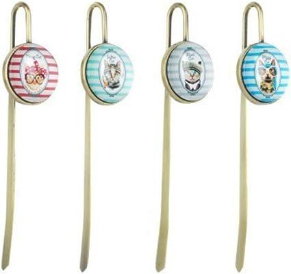 Set de 4 Marcalibros Decorativos de Metal
