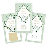 Personalized Bridal Shower Wedding Reception Scratch Off Game Cards Scratchers Watercolor Natural Leaf Frame Leaves SCB8004