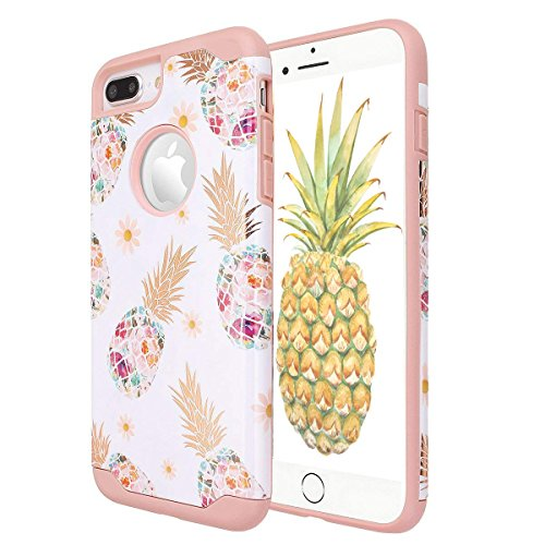 LOZA Pineapple Case for iPhone 7 Plus/iPhone 8 Plus, Floral Ultra Slim Hard PC+ Soft Rubber Anti-Scratch Shockproof Protective Cover Case for iPhone 7/8 Plus (Flower-Rose Gold/White)