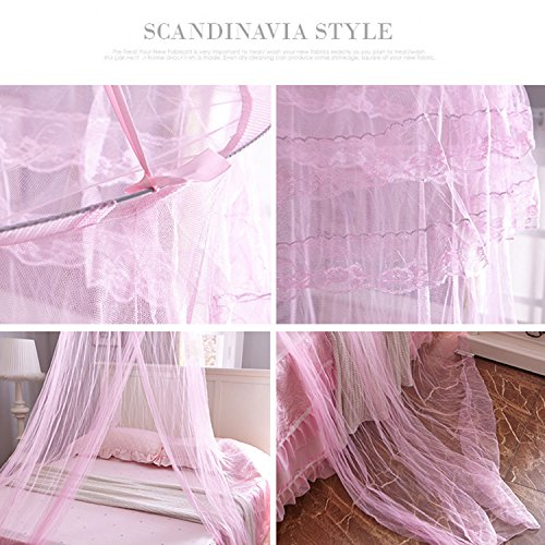 Yimii Round Dome Mosquito Net Princess Bed Canopy, Mosquito Netting Bed Curtains Hanging Canopy for Girls - Pink. by Yimii (Image #4)
