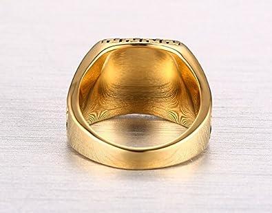 Amazon.com: Anillos de Hombres Joyería Fina Titanio Chapado en Oro RI0040: Jewelry