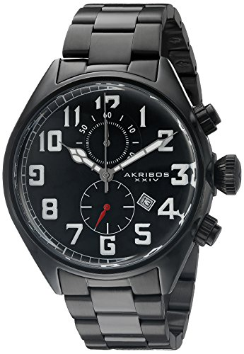 Quartz Movement Stainless Steel Bracelet - Akribos XXIV Men's AK853BK Round Black Dial Chronograph Quartz Movement Stainless steel Bracelet Watch