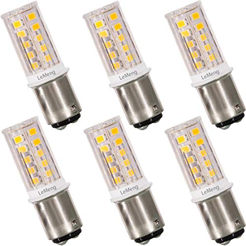 Base Bay15d - LeMeng 12V BAY15D 1157 LED Bulb 3W 300Lm 2700K Warm White,DC Bayonet Double Contact Base, AC10-18Volt & DC10-30 Volts, 25W Halogen Equivalent Interior RV Camper Marine Boat Trailer Lighting-6 Pack