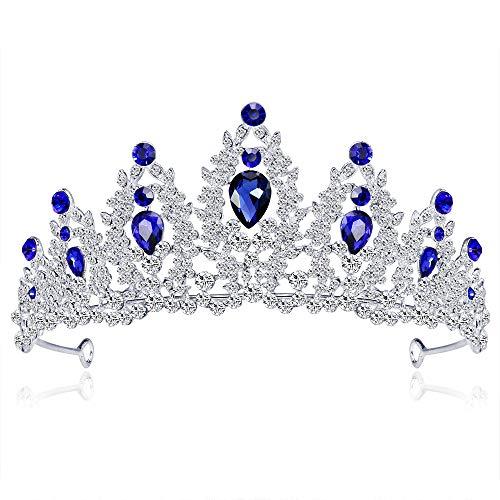 Wedding Tiara Crown Sparkly Rhinestones Crystal Bridal Princess Women Bride Headband (Blue) -