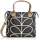 Orla Kiely Core Linear Zip Messenger Shoulder Bag, Black/Cream, One Size