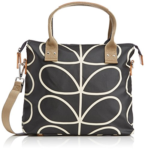 Orla Kiely Core Linear Zip Messenger Shoulder Bag, Black/Cream, One Size by Orla Kiely
