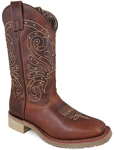 Smoky Mountain Women's Summer Pull On Closure Stitched Studded Design Square Toe Brown Boots 7.5M by Smoky Mountain Boots