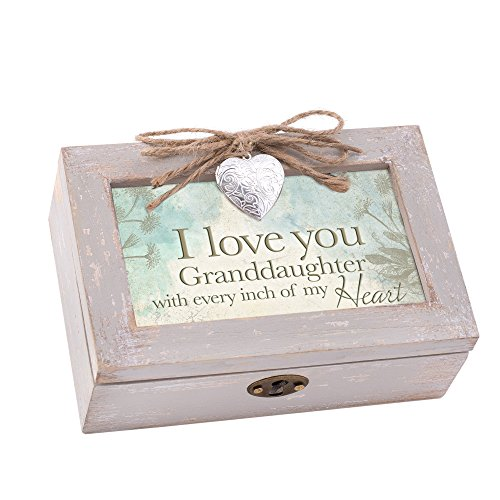 Cottage Garden Love You Granddaughter My Heart Taupe Wood Locket Jewelry Music Box Plays Tune You are My Sunshine