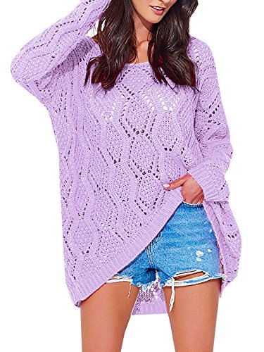 - Womens Sweaters Oversized Crochet Off The Shoulder Long Sleeve Pullover Sweater Tunic Tops