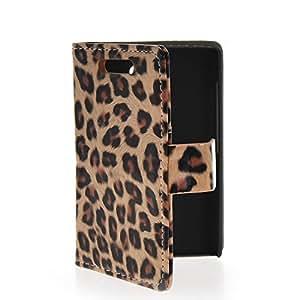 ANDYES Carcasa Cuero Funda Tapa Case Cover Para Nokia Asha 502 leopardo Marrón