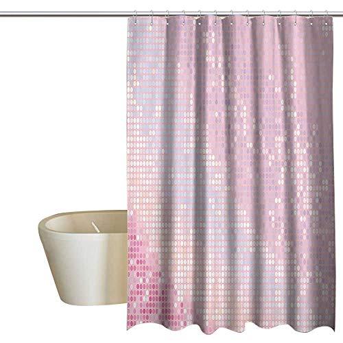 (EwaskyOnline Modern Kids Bathroom Shower Curtain Abstract Pattern in Pastel Pink Tones Disco Ball Style Party Theme Artwork Bath Shower Curtain W55 x L84 Light Pink Baby)