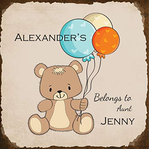 Personalized Custom Text Aunt New Baby Teddy Bear Aluminum Metal Sign, Light Grey/Brown (Best Fastasticdeals Aunts)
