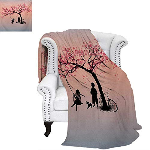 (warmfamily Tree of Life Digital Printing Blanket Children Playing on a Tire Swing Under Cherry Tree with Dog Blossom Spring Art Lightweight Blanket 50