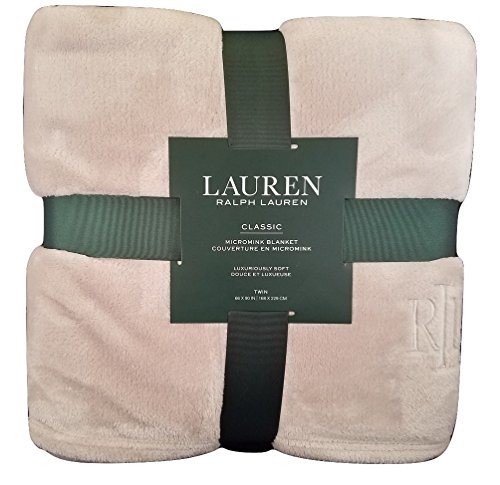 Ralph Lauren Classic Taupe Gray Micromink (Microfiber) Bed Blanket/Throw - Twin 66x90 (Twin)
