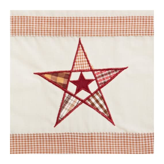 LORRAINE HOME FASHIONS Country Stars Tailored Valance, 60 by 12-Inch, Ecru/Red - Measures 60 x 12-inch Fabric Content: 65% Polyester/35% Cotton gl_home - living-room-soft-furnishings, living-room, draperies-curtains-shades - 51ov5o30D8L. SS570  -