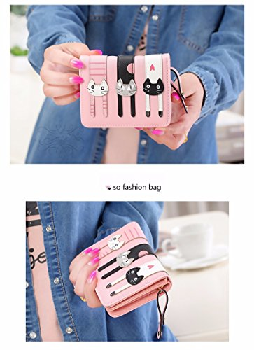 JD Million shop 2017 HOT New Coming Fashion Lady Women Short Check Purse Cat lovely wallet PU Leather wallet Card holder Famous brand Wallet