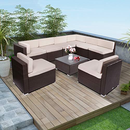 Esright 9 Pieces Patio PE Rattan Wicker Sofa Sectional Furniture - 9 Set Piece Patio