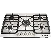 METAWELL 30' Stainless Steel Gold Burner Built-in 5 Stoves Natural Gas Cooktops Cooker