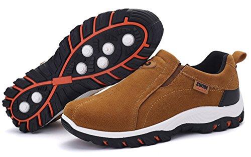 DADAWEN Men's Slip-On Loafers Outdoor Trainers Hiking Shoes Khaki V9EK43