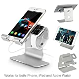 Apple Watch Stand-Tranesca 2-in-1 charging stand for 38mm and 42mm Apple watch/iPhone/iPad (Silver-Must have Apple watch Accessories)