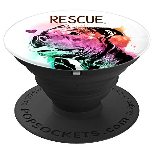 Cute Pitbull Rescue Mom Dog Lover Colorful Watercolor Gift - PopSockets Grip and Stand for Phones and Tablets
