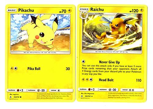 (Evolution Card Set - Raichu 55/214 - Sun Moon Unbroken Bonds - Rare 2 Card Lot)
