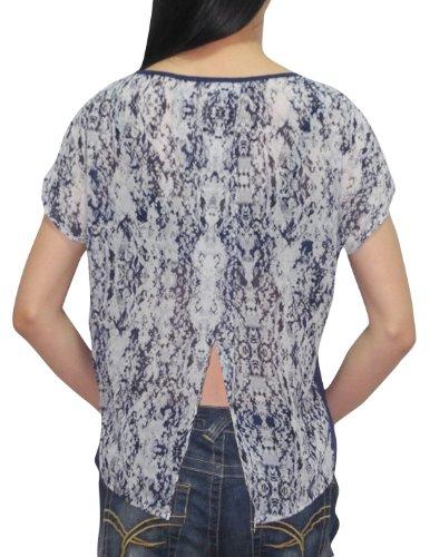 Femmes Crew-Neck Manches de Split Retour T-shirt / T M multicolore