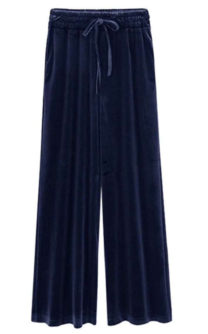 Oberora-Women Stylish Wide Leg Drawstring Plus Size Velvet Palazzo Long Pants Dark Blue 3XL