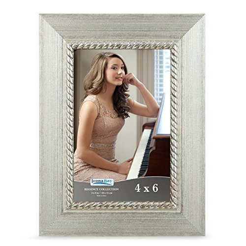 Icona Bay 4 By 6 Picture Frame  4X6  1 Pack  Silver  Photo Frame  Wall Mount Hangers And Black Velvet Back  Table Top Easel  Landscape As 6X4 Picture Frame Or Portrait As 4X6  Regency Collection