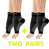 2 PAIRS of Plantar Fasciitis Socks, Premium Quality Compression Foot Sleeves, Unisex Muscle Recovery Sock, 6 Zone Compressions, Arch & Ankle Support, Increases Circulation