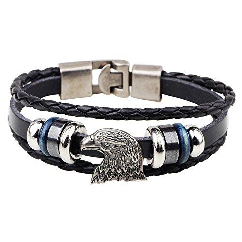 Ac Union Eagle Charm Handmade Stainless Steel Leather Bracelet Friendship Gift for Men - Eagle