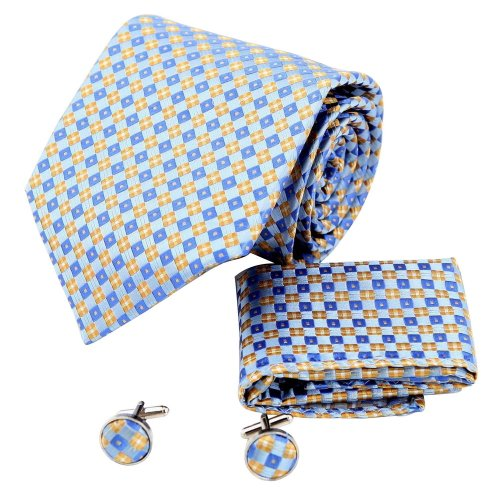 H6080 Blue Plaids Online Gift Idea Silk Ties Cufflinks Hanky Husband Gifts Set 3PT By Y&G (Online Gifts Ideas)