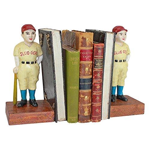Design Toscano Batter Up! Vintage Baseball Slugger Cast Iron Sculptural Bookend Pair