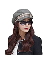 Siggi Wool Newsboy Cabbie Beret Cap for Women Beret Visor Bill Hat Winter Grey Gray