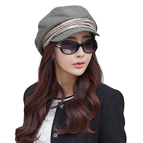 Siggi Wool Newsboy Cabbie Beret Cap for Women Beret Visor Bill Hat Winter Grey