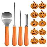 Pumpkin Carving Kit, BIG HOUSE Professional Halloween Jack-O-Lanterns Stainless Steel Carving Tools Set with 10Pcs Carving Templates, Scraper, Saw, Drill and Etching(4 Pieces, Yellow)