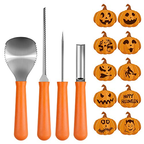 Halloween Pumpkin Carving With A Drill (Halloween Pumpkin Carving Kit, BIG HOUSE Professional Jack-O-Lanterns Stainless Steel Carving Tools Set with 10Pcs Carving Templates, Scraper, Saw, Drill and Etching(4 Pieces,)