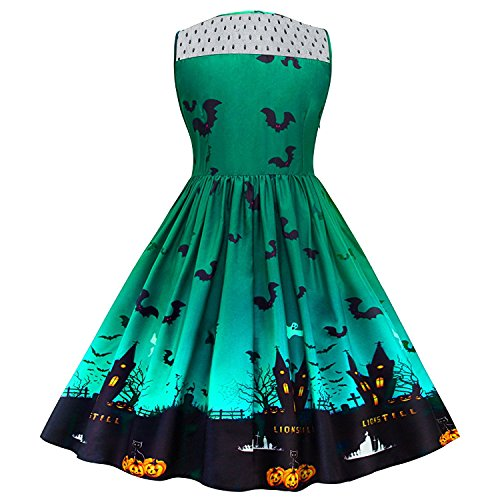 dextrad Beautiful Women's Vintage Halloween Print Lace Panel Dress Retro Rockabilly A Line Dresses GreenMedium