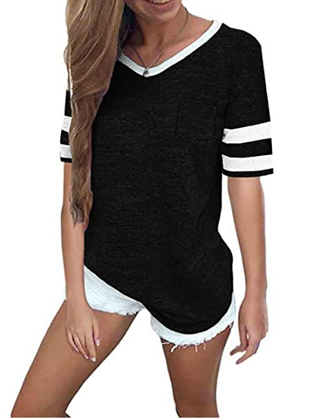 0dddad2554 Famulily Womens Baseball Tee Short Sleeve V Neck Loose Striped Tshirt Tunic  Top with Pocket Black