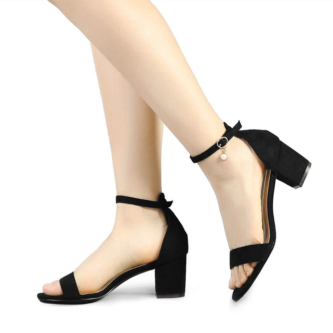 f8cc40aae Allegra K Women s Pearl Open Toe Ankle Strap Block Heel Black Sandals - 8.5  M US