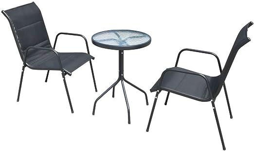 Kunststoff Anthrazit Balkonset Sitzgruppe Gartenset vidaXL Gartenmöbel 3-tlg