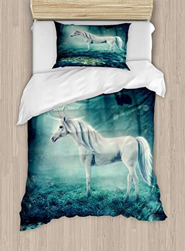Lunarable Fantasy Duvet Cover Set, Unicorn Near a Pond in a Forest with Enchanted Fairy Tale Trees, Decorative 2 Piece Bedding Set with 1 Pillow Sham, Twin Size, Mint - Duvet Enchanted Set Cover
