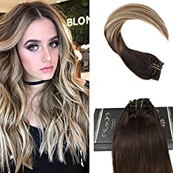 Ugeat Dream 18inch Real Human Hair Clip in Extensions Color Dark Brown Fading to Medium Brown Highlighted Bleach Blonde Balayage Clip in Hair Extensions 120Gram