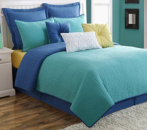 Fiesta Dash Reversible Quilt Set with 2 Euro Shams, Full/Queen, Lapis Turquoise by Fiesta