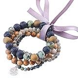 Natural Gorgeous Healing Irregular Stone Bracelets for Men Women Beaded Bracelets Elastic with Double Happiness Pendant (African turquoise+Labradorite+Lava+Picasso Jasper-5 Pcs)