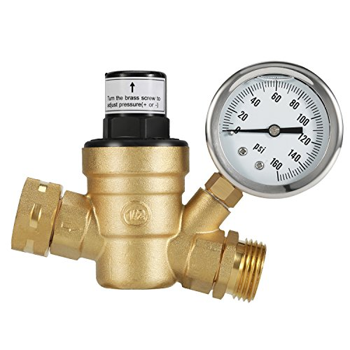 Brass Pressure Regulator - Kohree Water Pressure Regulator Valve, Brass Lead-Free Adjustable Water Pressure Reducer with Gauge for RV Camper, and Inlet Screened Filter