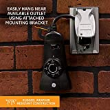 GE Outdoor 24-Hour Photoelectric Dusk-to-Dawn Light Sensing Timer, Grounded 2-Outlet, Black, 15112