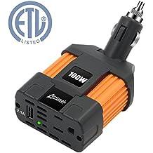 Ampeak 100W Car Power Inverter DC 12V to 110V AC Converter with 2.1A USB Car Charger