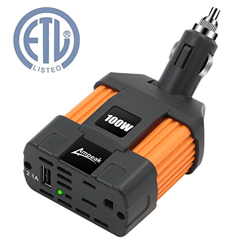 Ampeak 100W Car Power Inverter DC 12V to 110V AC Converter with 2.1A USB Car Charger - Car Power Plug